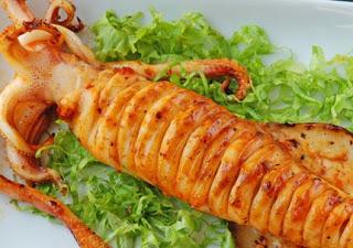 Grilled fresh squid