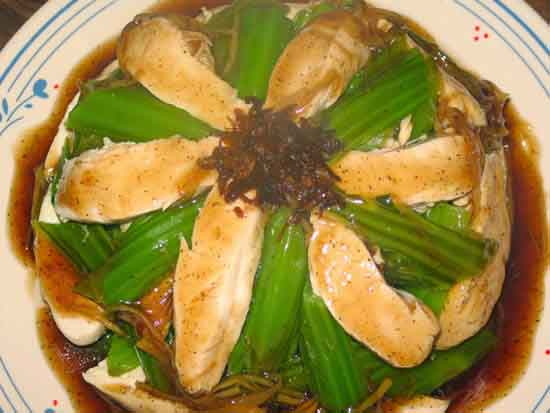 Món ngon gà hấp cải bẹ xanh