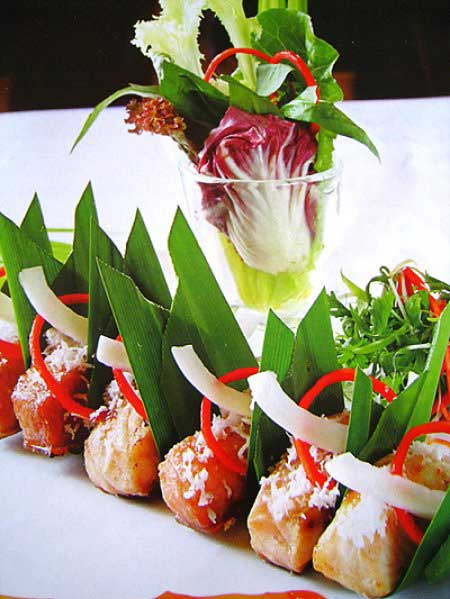 Món nướng ngon cá tầm nướng lá dừa
