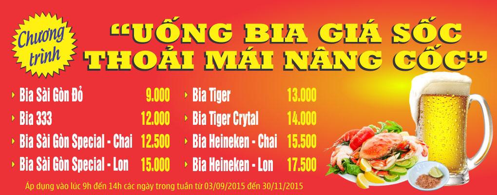 Uống bia giá rẻ nhất Việt Nam tại Nhà hàng Quá Ngon