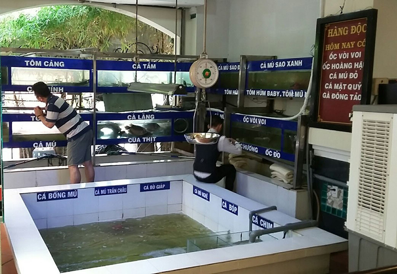 Khu hải sản tươi sống ngay tại nhà hàng Qúa Ngon